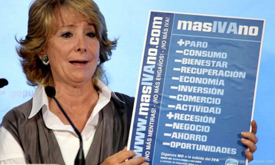 Esperanza Aguirre subiendo el IVA y siendo incongruente