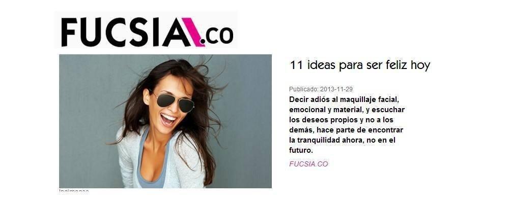 Entrevista de felicidad para la revista Fucsia de Colombia