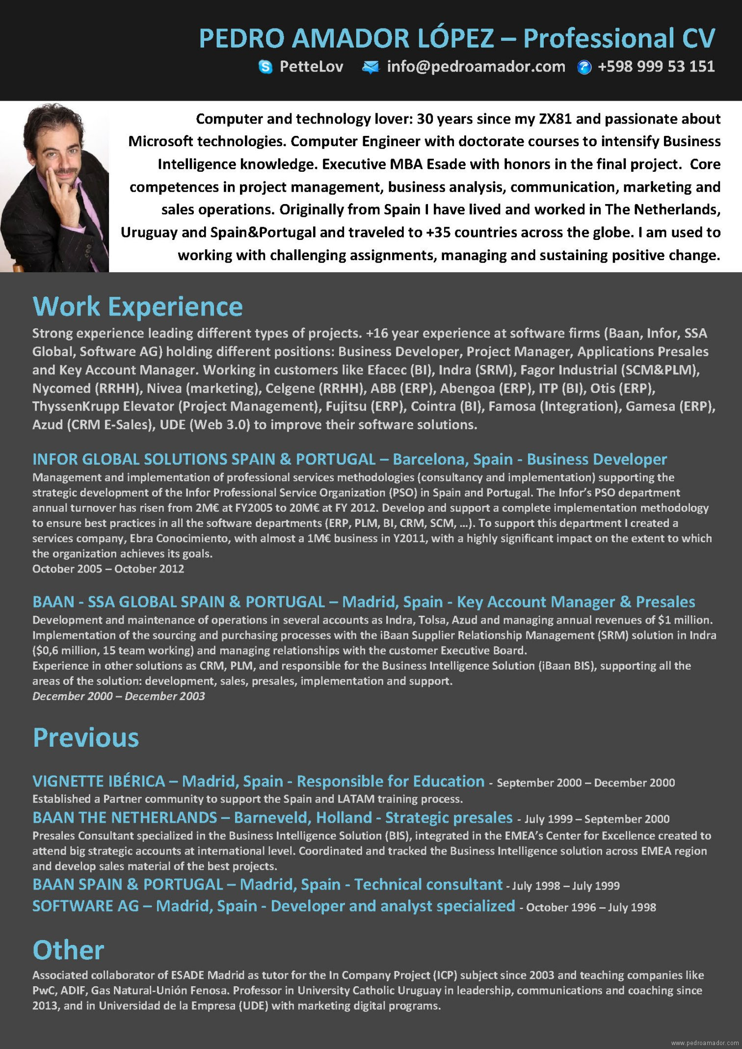 CV Pedro Amador - versión web