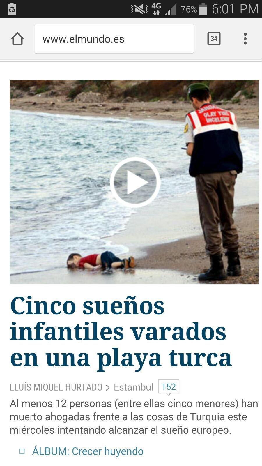 Publicación de El País del niño muerto en la playa