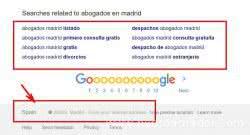 Palabras clave sugeridas por Google al buscar
