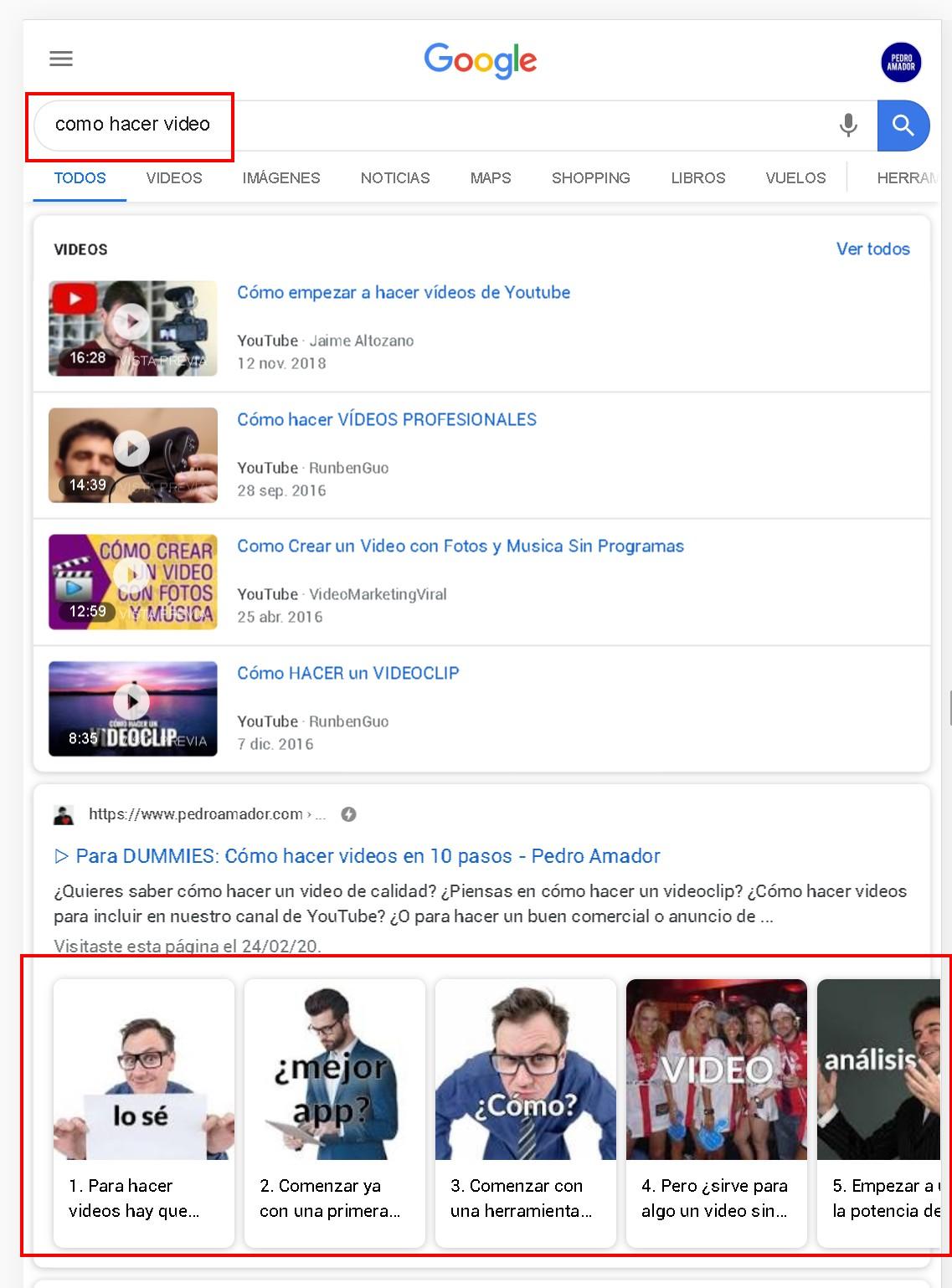 Ejemplo de resultados de búsqueda